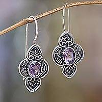 Amethyst dangle earrings, 'Purple Water Hyacinth'