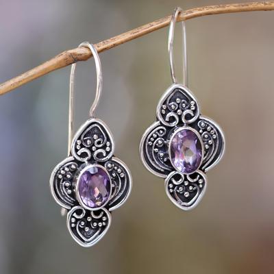 Amethyst dangle earrings, 'Purple Water Hyacinth' - Balinese Amethyst and Sterling Silver Dangle Earrings