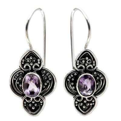 Amethyst dangle earrings, 'Purple Water Hyacinth' - Balinese Amethyst and Sterling Silver Dangle Earrings