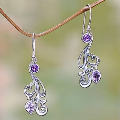 Amethyst dangle earrings, 'Vineyard Grapes' - Silver and Amethyst Dangle Earrings from Bali