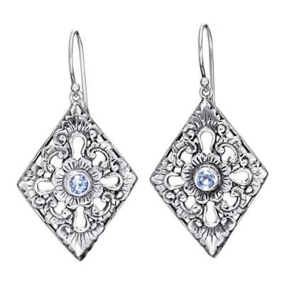 Sterling Silver and Blue Topaz Earrings with Floral Motif