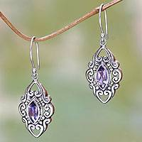 Amethyst dangle earrings, 'Royal Seal'