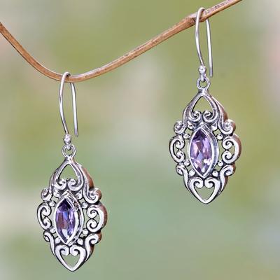 Amethyst dangle earrings, 'Royal Seal' - Sterling Silver and Amethyst Earrings from Bali