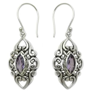 Amethyst dangle earrings, 'Royal Seal' - Sterling Silver and Amethyst Earrings from Bali