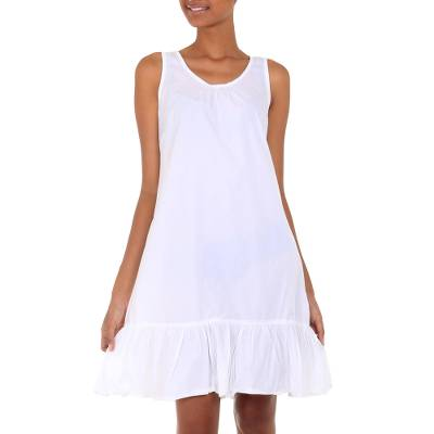 Handmade White Cotton Sleeveless Shift Dress