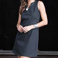 Black cotton shift dress, 'Lily in Black' - Women's Black Cotton Sleeveless Shift Dress from Bali