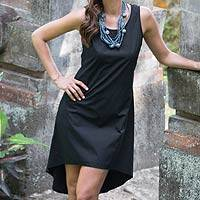Sleeveless hi-low cotton sundress, 'Cempaka in Black' - Fair Trade Black Woven Cotton Sleeveless Sundress