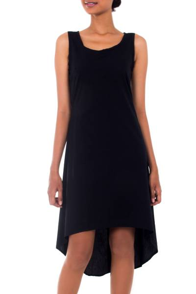 Fair Trade Black Woven Cotton Sleeveless Sundress