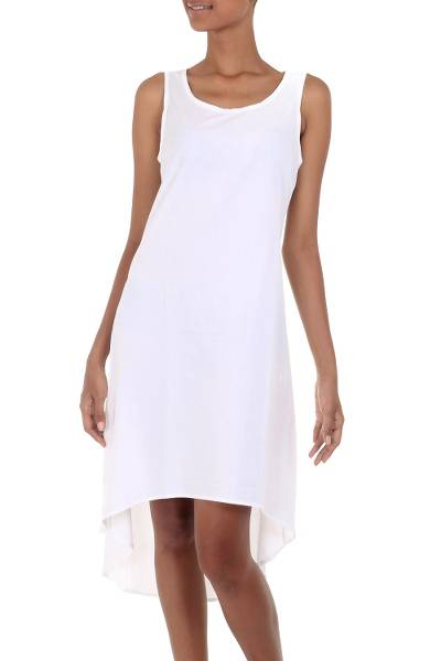 Artisan Crafted Cotton Hi-Low Sleeveless White Dress