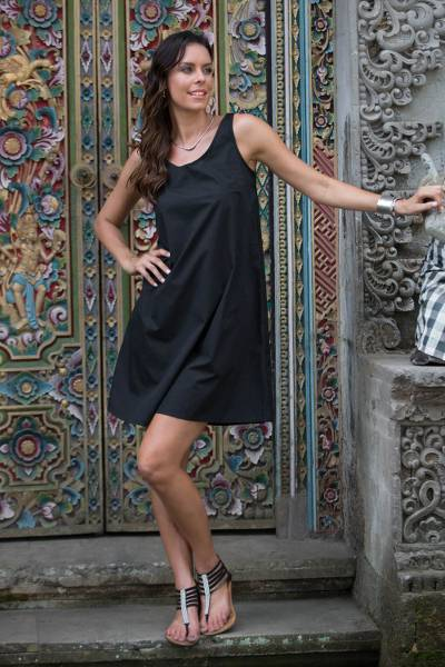 Sleeveless cotton A-line dress, 'Melati in Black' - Fair Trade Sleeveless Short Black Cotton Sundress