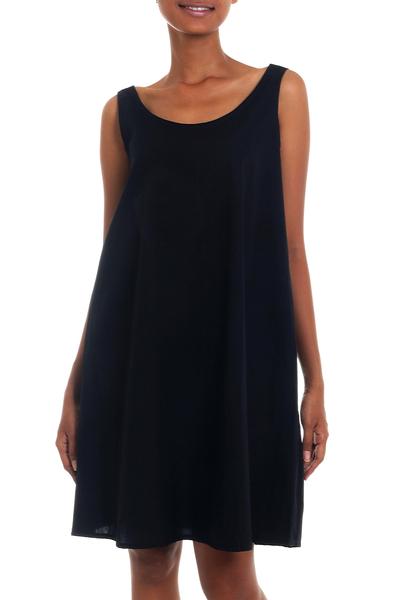 Fair Trade Sleeveless Short Black Cotton Sundress