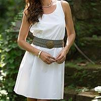 Sleeveless cotton A-line dress, 'Melati in White' - Women's White Sleeveless Cotton Dress from Bali