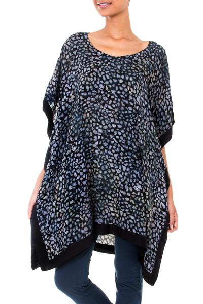 Rayon batik caftan, 'Borneo Slate' - Handcrafted Rayon Gray Batik Women's Caftan