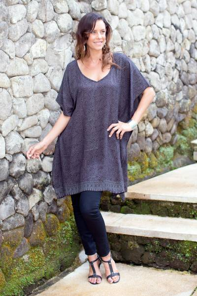 Rayon batik caftan, 'Swirling Waters' - Gray and Black Rayon Caftan with Hand-Stamped Pattern