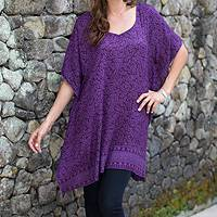 Rayon batik caftan, 'Twilight Harvest' - Purple Rayon Caftan for Women with Leaf Print from Bali