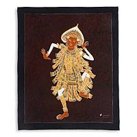 Batik wall art, 'Baris Dance' - Hand Crafted Balinese Batik Artwork on Cotton