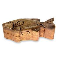 Wood puzzle box, 'Tropical Fish' - Indonesian Tropical Fish Wood Puzzle Box