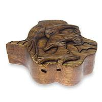 Wood puzzle box, 'Dolphin Family' - Dolphin Themed Hand Carved Wood Puzzle Box