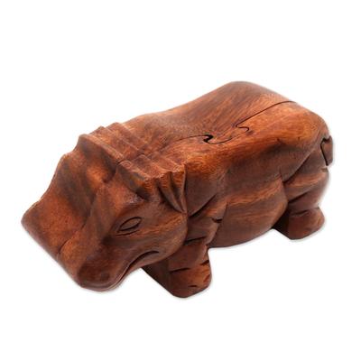 Wood puzzle box, 'Hippopotamus' - Handmade Hippopotamus Wood Puzzle Box from Bali