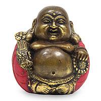Bronze statuette, 'Hotei Buddha' - Hand Crafted Bronze Buddha Statuette from Bali