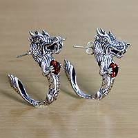 Garnet half-hoop earrings, 'Dragon's Heart' - Dragon Half-Hoop Sterling Silver Earrings with Garnets