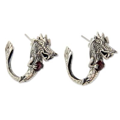 Dragon Half-Hoop Sterling Silver Earrings with Garnets