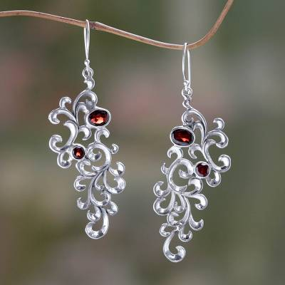 Garnet dangle earrings, 'Trailing Vines' - Hand Crafted Garnet and Sterling Silver Dangle Earrings