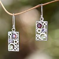 Multi-gemstone dangle earrings, 'Color Bubbles' - Gemstone and Sterling Silver Dangle Earrings