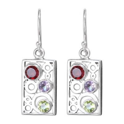 Multi-gemstone dangle earrings, 'Color Bubbles' - Gemstone and Sterling Silver Dangle Earrings from Bali