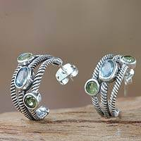 Blue topaz and peridot half-hoop earrings, 'Spring Melody' - Blue Topaz and Peridot Sterling Silver Half-hoop Earrings