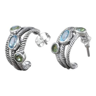 Blue Topaz and Peridot Sterling Silver Half-hoop Earrings