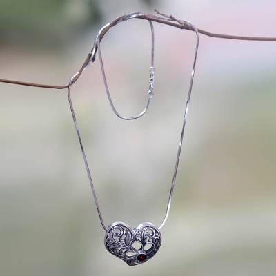 Garnet heart pendant necklace, Blooming Heart