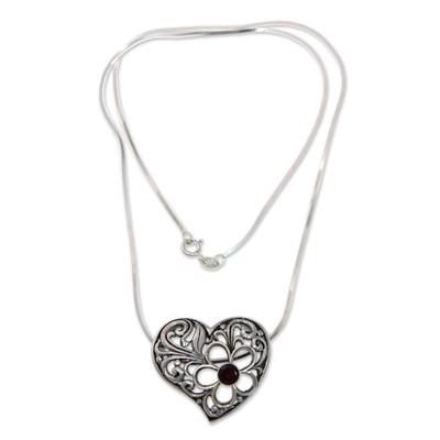 Garnet heart pendant necklace, 'Blooming Heart' - Sterling Silver Heart Pendant Necklace with Garnet
