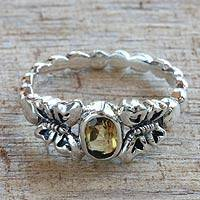 Citrine cocktail ring, 'Honey and Butterflies' - Handcrafted Single Stone Cocktail Ring from Indonesia