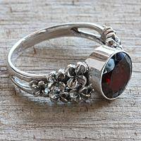 Garnet flower ring, 'Crimson Frangipani' - Handcrafted 2.5 Carat Garnet and Sterling Silver Ring