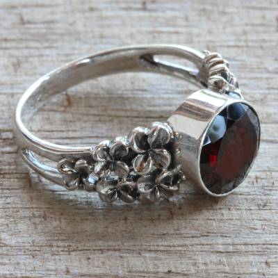 butterfly rings silver - Garnet and Sterling Silver Flower Ring