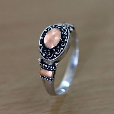 Gold accent cocktail ring, 'Heart of Fire' - Balinese Silver Ring with 18 Karat Gold Plated Accents