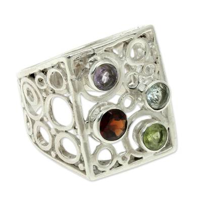 Multi-gemstone cocktail ring, 'Color Bubbles' - Multi-gemstone Sterling Silver Cocktail Ring from Bali