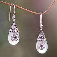 Chalcedony dangle earrings, 'Mount Bromo Mist' - Chalcedony and Amethyst Sterling Silver Dangle Earrings