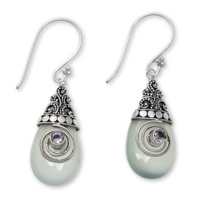 Chalcedony and Amethyst Sterling Silver Dangle Earrings