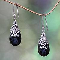 Onyx dangle earrings, 'Misty Mountain' - Onyx and Sterling Silver Dangle Earrings from Bali