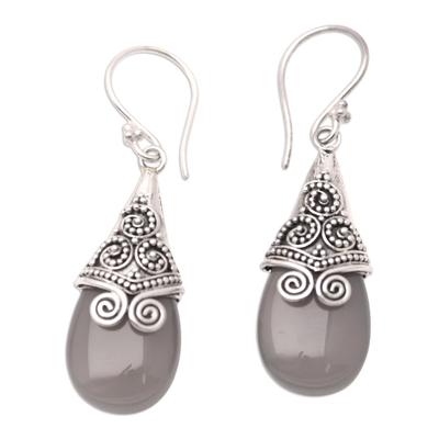 Balinese Style Brown Chalcedony Dangle Earrings