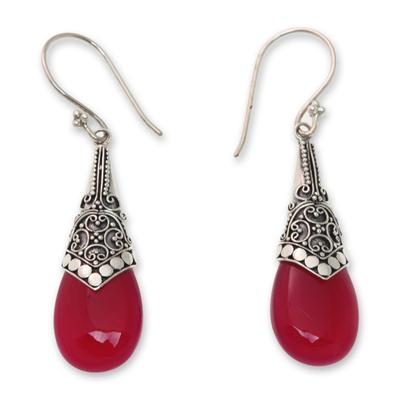 Bali Pink Chalcedony and Silver Dangle Earrings