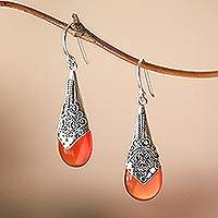 Chalcedony dangle earrings, 'Puncak Jaya in Red' - Wine-Red Chalcedony and Sterling Silver Dangle Earrings
