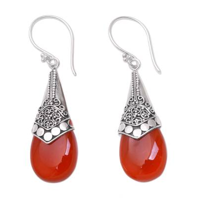 Wine-Red Chalcedony and Sterling Silver Dangle Earrings