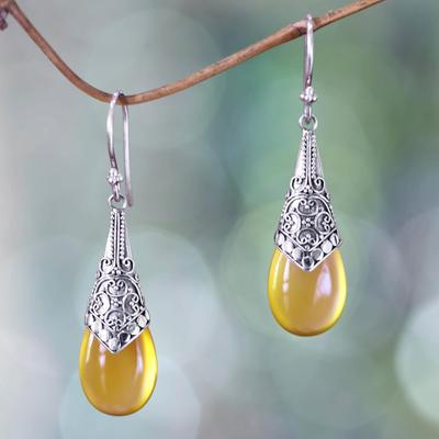Chalcedony dangle earrings, 'Puncak Jaya in Yellow' - Balinese Sterling Silver and Yellow Chalcedony Earrings