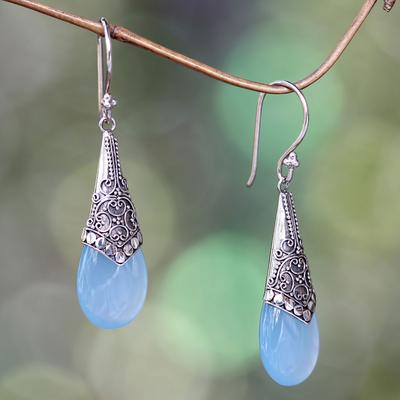 Chalcedony dangle earrings, 'Puncak Jaya in Blue' - Light Blue Chalcedony and Sterling Silver Dangle Earrings