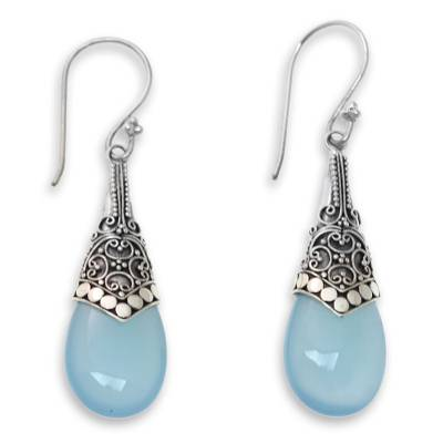 Light Blue Chalcedony and Sterling Silver Dangle Earrings