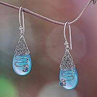 Chalcedony and blue topaz dangle earrings, 'Kintamani Plateau' - Blue Chalcedony and Blue Topaz Silver Earrings from Bali