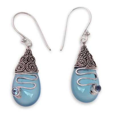 Blue Chalcedony and Blue Topaz Silver Earrings from Bali